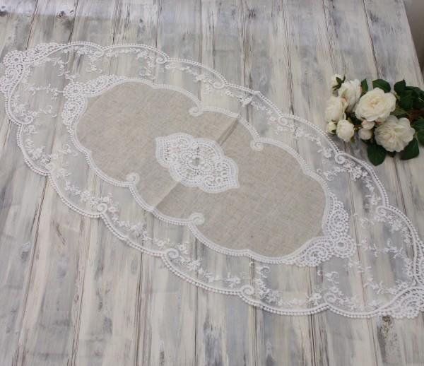 シャビーシックなレースのテーブルセンター(ミディアム)ベージュ×ホワイト ドイリー テーブルランナー 布製 刺繍 アンテ