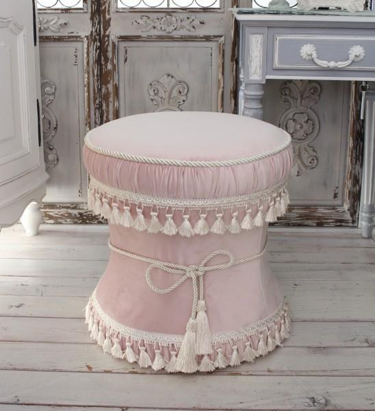 ピンクベルベット 可愛いスツール オットマン 椅子 布張り シャビーシック アンティーク風 輸入雑貨 アンティーク 雑貨 姫系