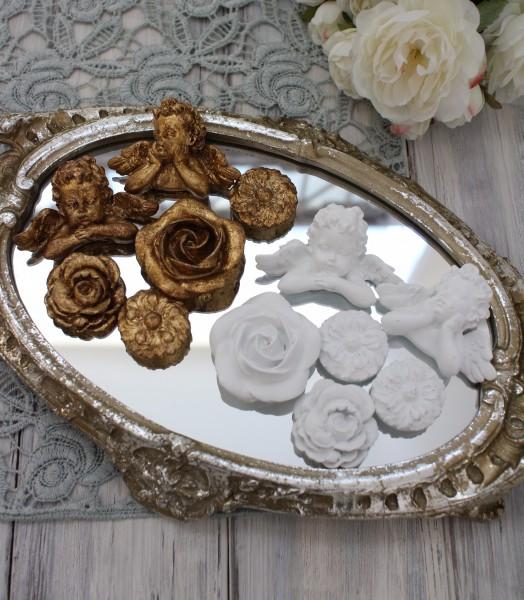 マグネット6種セット(ホワイト・ゴールド)アンティーク風 シャビーシック 雑貨 姫系 フレンチカントリー