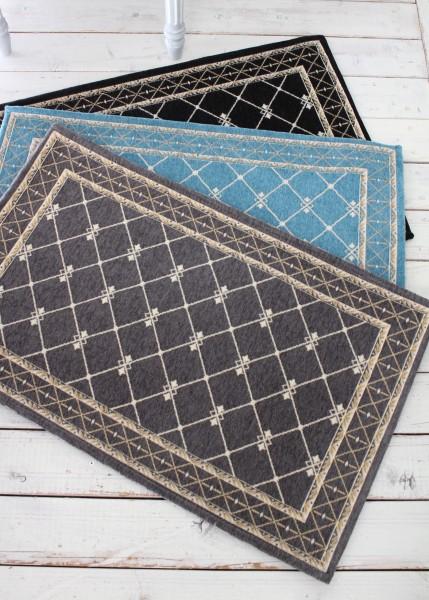 フレンチスタイル 玄関マット50×80(グレー・ブラック・ブルー)おしゃれ ラグ 滑り止め付き シック シャビーシック アンティー