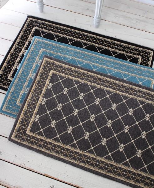 フレンチスタイル 玄関マット60×90(グレー・ブラック・ブルー)おしゃれ ラグ 滑り止め付き シック シャビーシック アンティー