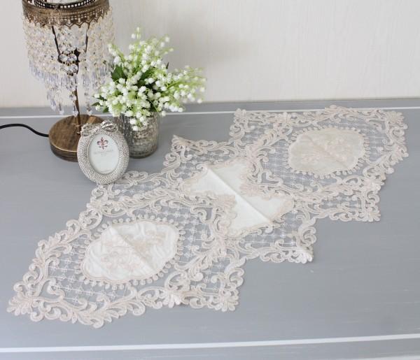 ピンクベージュのレースのテーブルセンター ドイリー テーブルランナー 布製 刺繍 アンティーク風 アンティーク調 可愛い
