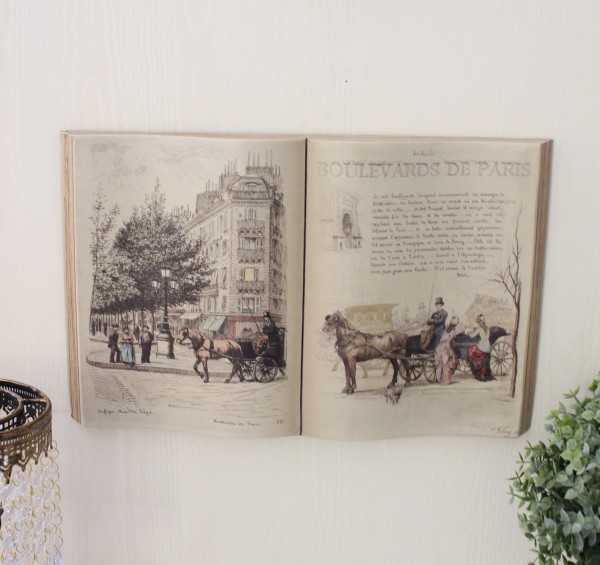 アンティーク 雑貨 ブック型壁掛け(L馬車702)額縁 可愛い アンティーク風 シャビーシック フレンチカントリー アンティーク