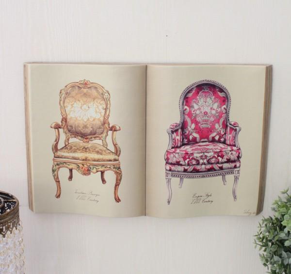 アンティーク 雑貨 ブック型壁掛け(L椅子703)額縁 可愛い アンティーク風 シャビーシック フレンチカントリー アンティーク