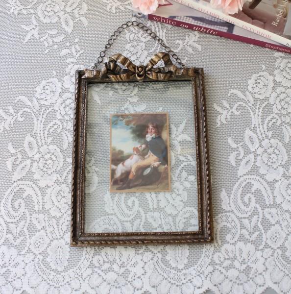 アンティーク風 写真立て/壁掛け(リボン・096)フォトフレーム  可愛い アンティーク風 シャビーシック フレンチカントリー