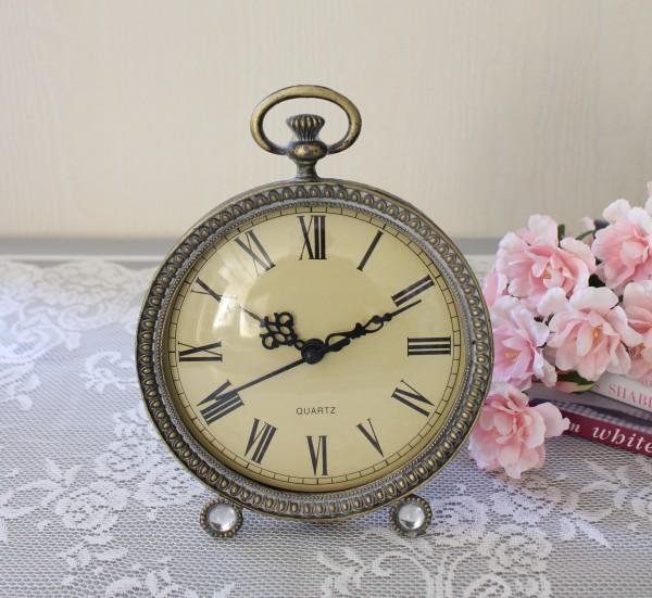 アンティーク メタルクロック 置時計(ラウンド202)クオーツ時計 テーブルクロック 輸入雑貨 アンティーク調 アンティーク 雑