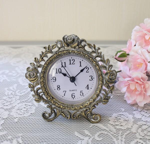 アンティーク メタルクロック 置時計(ローズ203)クオーツ時計 テーブルクロック 輸入雑貨 アンティーク調 アンティーク 雑貨