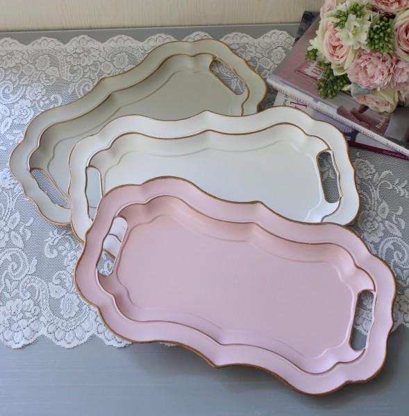 フレンチトレイ M (ホワイト ピンク グレー)アンティーク風 antique アンティーク ディスプレイトレイ フレンチトレー シャビ