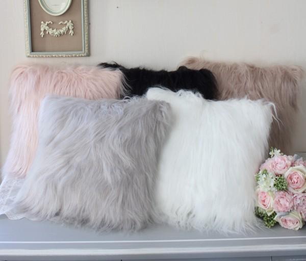 フェイクファークッション(中綿付き)5色 40cm角 シャビーシック フレンチカントリー アンティーク 雑貨 姫系 フレンチシック