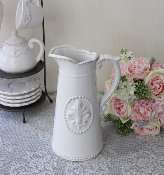 白い食器 ピッチャー(リリーシリーズ) 水差し 花器 ベース おしゃれ アンティーク 食器 アンティーク風 フレンチカントリー