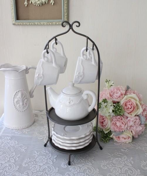 白い食器 ティーセット・スタンド付き(リリーシリーズ) カップ&ソーサー ティーポット おしゃれ アンティーク 食器 アンティ