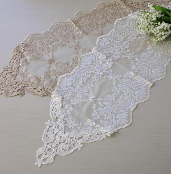 アンティークなレースのテーブルセンター 90cm(12215)ベージュ ホワイト ドイリー テーブルランナー 布製 刺繍 アンテ