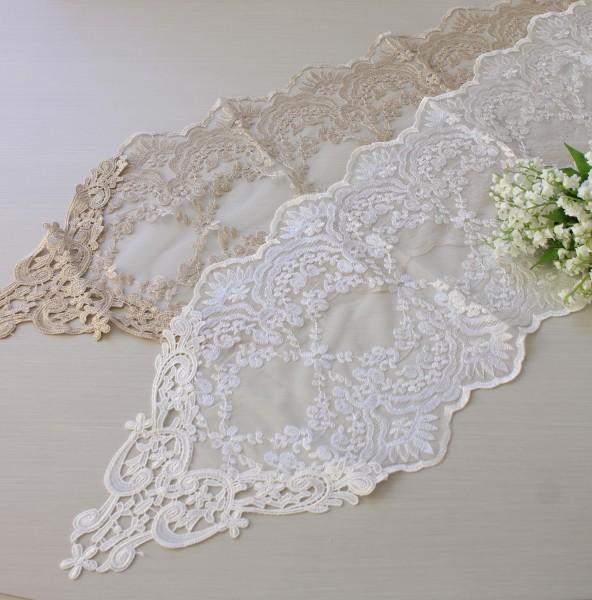 アンティークなレースのテーブルセンター 120cm(12216)ベージュ ホワイト ドイリー テーブルランナー 布製 刺繍 アンテ
