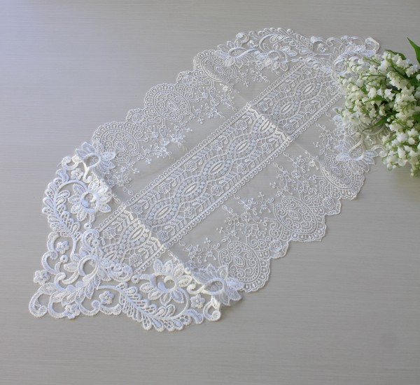 アンティークなホワイトレース テーブルセンター 70cm(12211) ホワイト ドイリー テーブルランナー 布製 刺繍 アンティ