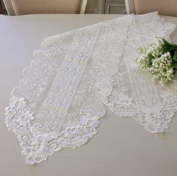 アンティークなホワイトレース テーブルセンター 180cm(12213) ホワイト ドイリー テーブルランナー 布製 刺繍 アンテ