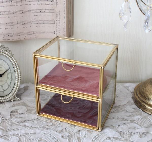 アンティークなガラス小物入れ 2段 202BX 小物入れ アクセサリーケース コレクションケース ロココ調 姫系 可愛い アンティーク