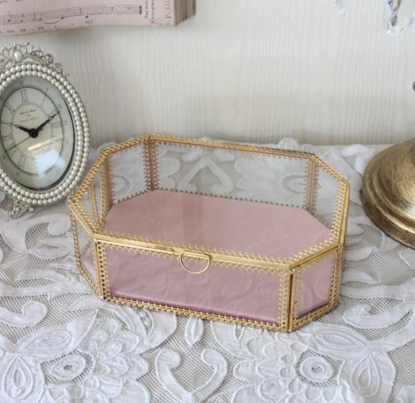 アンティークなガラス小物入れ ピンク 201BX 小物入れ アクセサリーケース コレクションケース ロココ調 姫系 可愛い アンティー