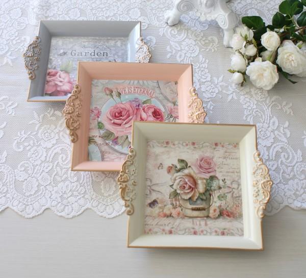 ローズトレイ S(アイボリー ピンク ブルーグレー)トレー 小物入れ 薔薇柄 ローズ アンティーク風 antique アンティーク ディス
