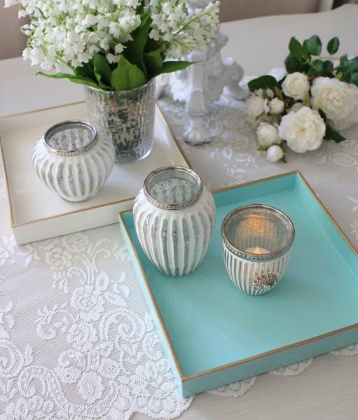 スクエアトレイ(ホワイト ライトブルー)トレー 小物入れ アンティーク風 antique アンティーク ディスプレイトレイ フレンチト