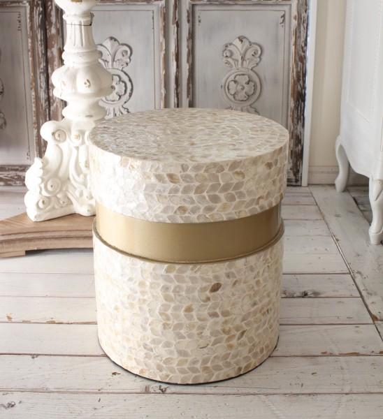 アンティークなシェル製 サイドテーブル (丸形)シャビーシック ナイトテーブル ベッドサイドテーブル アンティーク風 モロッカ
