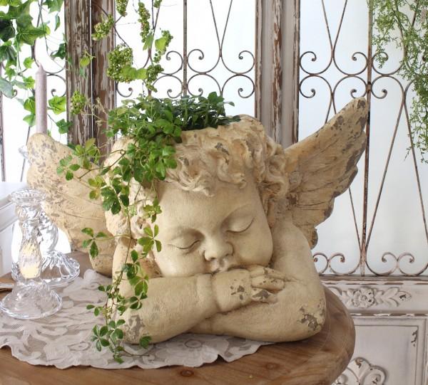 アンティークな天使のプランター エンジェル オブジェ 置物 鉢カバー アンティーク風 フレンチカントリー 姫系 かわいい おしゃ