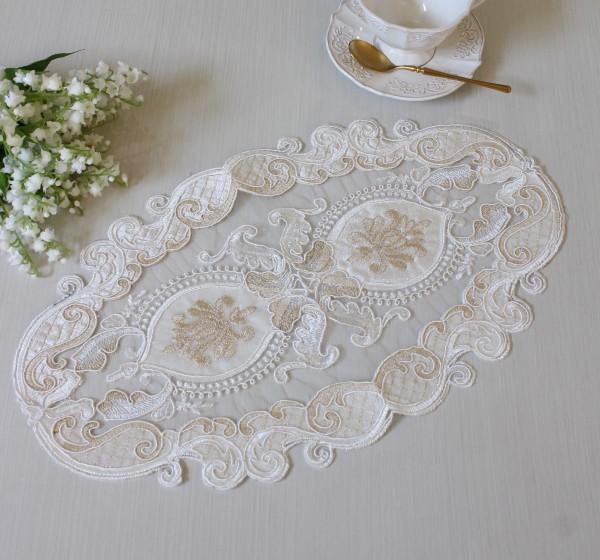 アンティーク風 レース テーブルセンター 12400TC ホワイト ドイリー テーブルランナー テーブルセンター 布製 刺繍 アンテ