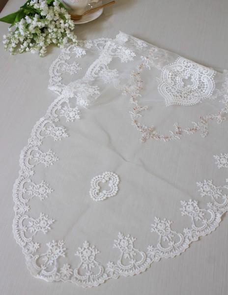 アンティーク風 レース テーブルセンター 12503TC ホワイト ドイリー テーブルランナー テーブルセンター 布製 刺繍 アンテ