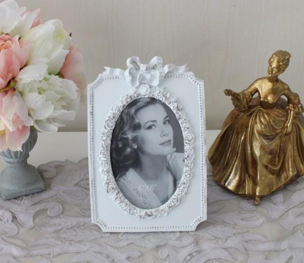 シャビーホワイト リボンフォトフレーム 写真立て 15020PF アンティーク風 ロココ調 ロココスタイル シャビーシック 雑貨 姫系
