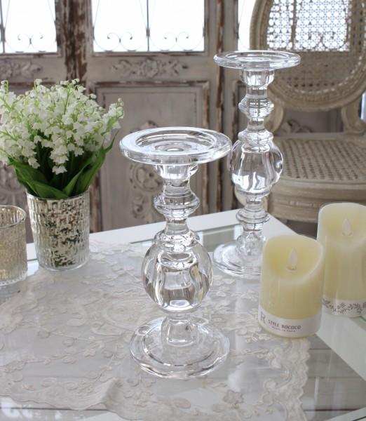 ガラス製のキャンドルスタンド(ボールタイプM) 燭台 キャンドルホルダー シャビーシック 姫系 アンティーク 雑貨 アンティ