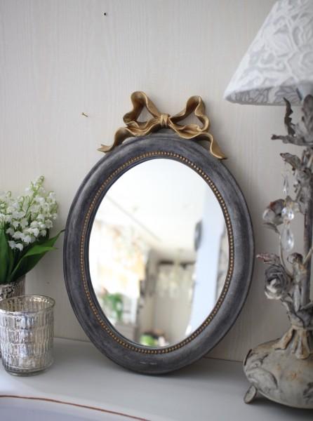 シャビーシックなリボンミラーM オーバル形 グレイ×ゴールド 壁掛け卓上両用 アンティーク風 雑貨 フレンチカントリー 鏡