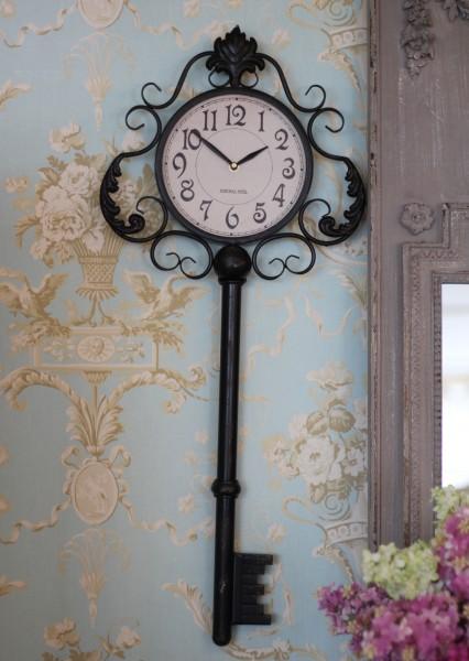 掛け時計♪ アンティーク ラージキー・ウォールクロック アイアンクロック アンティーク調 掛時計 フレンチカントリー シャビーシ