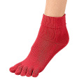 婦人赤シルク5本指靴下
