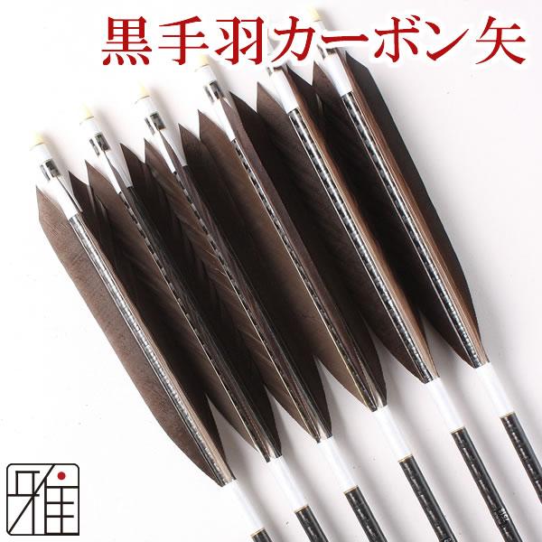 弓道 弓具 ミズノカーボン矢 黒手羽 WENEW 7518シャフト|6本組【YA-121】