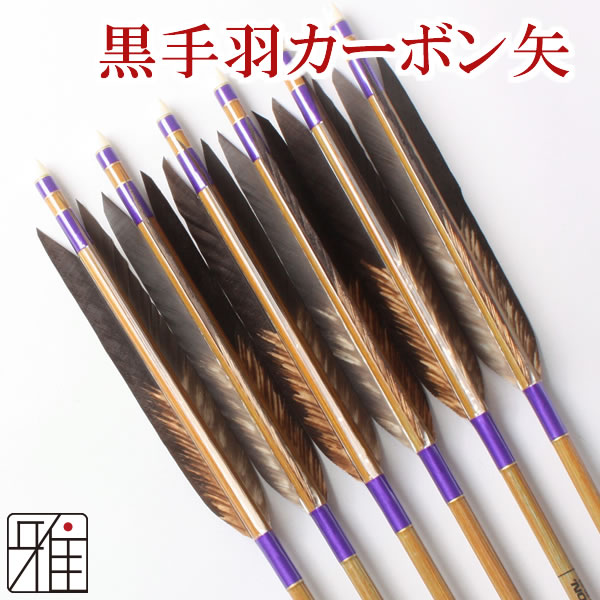 弓道 弓具イーストンカ-ボン矢 黒手羽染抜8023|6本組 【YA131】