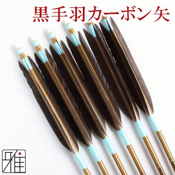 弓道 弓具カ-ボン矢 黒手羽8023|6本組【YA155】