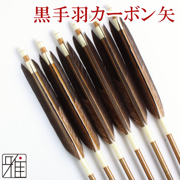 弓道 弓具イーストンカ-ボン矢 黒手羽染抜8023|6本組 【YA157】