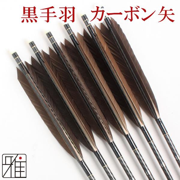 弓道 弓具 ミズノカーボン矢 黒手羽 WENEW 8023シャフト|6本組【YA-169】