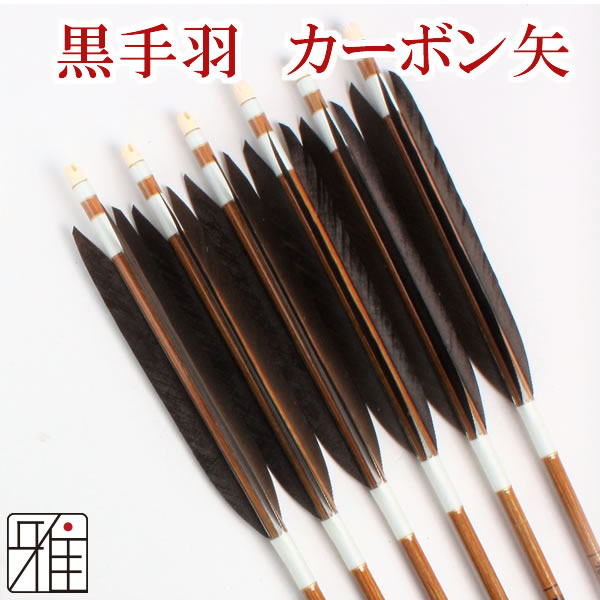 弓道 弓具カーボン矢 黒手羽7620|6本組 【YA176】