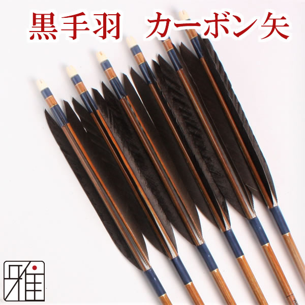 弓道 弓具カーボン矢 黒手羽7620|6本組 【YA177】