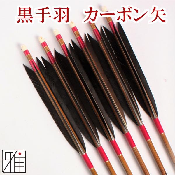 弓道 弓具カーボン矢 黒手羽7620|6本組 【YA178】