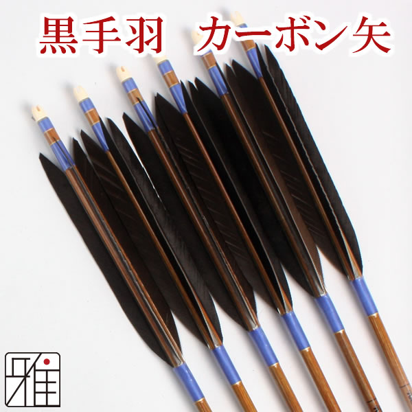 弓道 弓具カーボン矢 黒手羽7620|6本組 【YA181】
