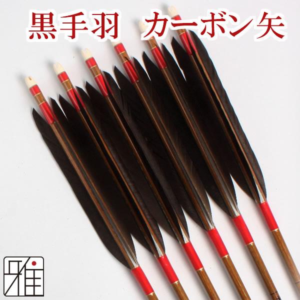 弓道 弓具カーボン矢 黒手羽7620|6本組 【YA182】