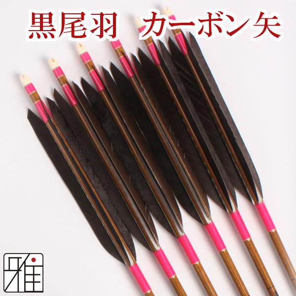 弓道 弓具カーボン矢 黒尾羽7620|6本組 【YA188】