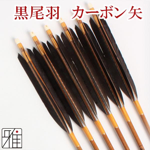 弓道 弓具カーボン矢 黒尾羽7620|6本組 【YA189】
