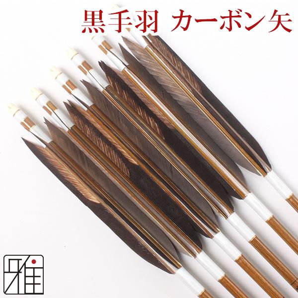 弓道 弓具カーボン矢 黒手羽染抜8023|6本組【YA35】