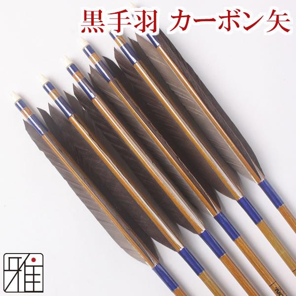 弓道 弓具カーボン矢 黒手羽7620|6本組 【YA44】