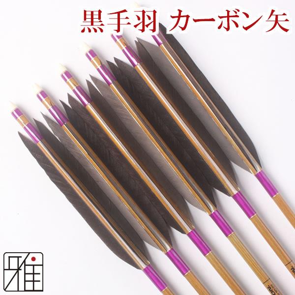 弓道 弓具カーボン矢 黒手羽8023|6本組【YA50】