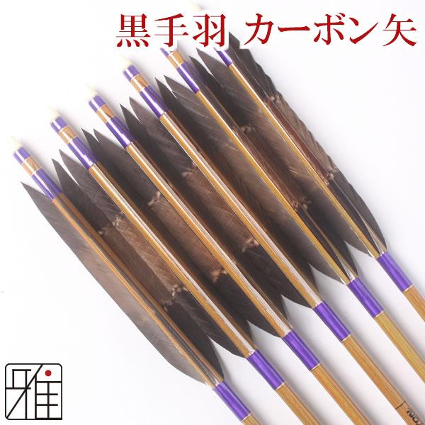 弓道 弓具カーボン矢 黒手羽染抜8023|6本組【YA54】