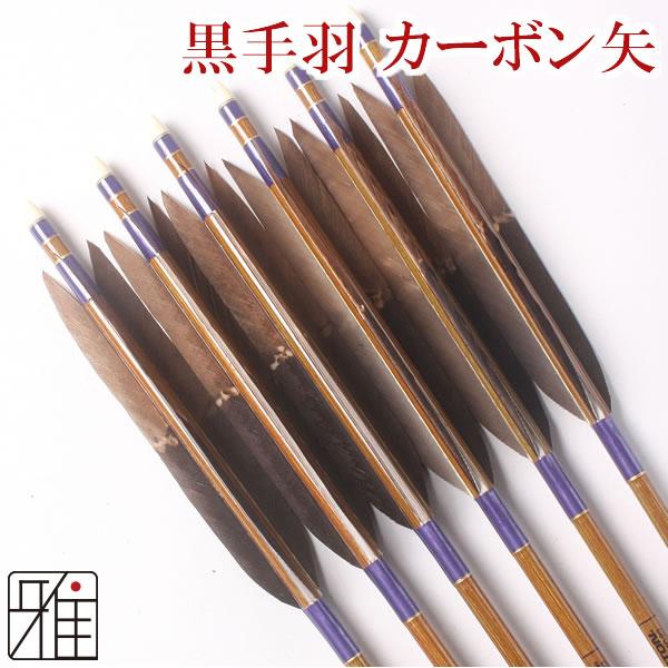 弓道 弓具カーボン矢 黒手羽染抜8023|6本組【YA60】