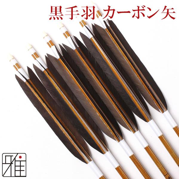 弓道 弓具カーボン矢 黒手羽7620|6本組 【YA63】